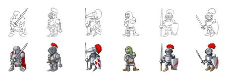 Set of medieval knight characters cartoon style vector illustration royalty free illustration