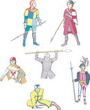 Set of medieval knights and warriors Royalty Free Stock Image