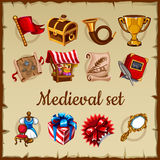 Set of medieval object on parchment paper Stock Image