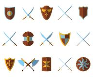 Set of Medieval Shield and Weapon Icon and Label. Flat style. Ve. Ctor illustration logo Stock Photo