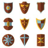 Set of Medieval Shield and Weapon Icon and Label. Flat style. Ve. Ctor illustration logo Royalty Free Stock Photo