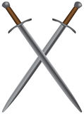 Set of medieval swords. A set of double-edged swords medieval. Vector illustration Royalty Free Stock Photo