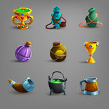 Set of medieval vessel icons. vector illustration