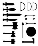 Set of medieval weapons. Antique swords, axes, spear, bows, arrows, shield. Black arms on white background. Vector isolated elemen Royalty Free Stock Photography