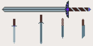 A set of medieval weapons - a two-handed sword and knives vector illustration