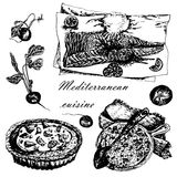 Set of Mediterranean dishes: paella, pizza and fish sketch hand-drawn  illustration Stock Photography
