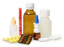 Set medycyny dla traktowania różnorodne dolegliwość i objawy fotografia stock