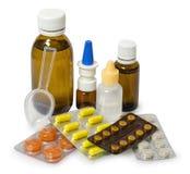 Set medycyny dla traktowania różnorodne dolegliwość i objawy Odizolowywający dalej obrazy stock