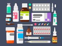 Set medycyny Sposoby od illnesses Pastylki termometr, strzykawka i ampułki, ilustracji