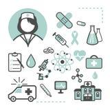 Set medyczne ikony na białym tle Zdjęcia Stock