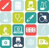 Set medyczne ikony w mieszkanie stylu Fotografia Stock