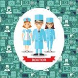Set medyczni ludzie, lekarka i pielęgniarka z medycznym bezszwowym tłem, Obraz Stock