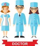 Set medyczni ludzie, lekarka i pielęgniarka, Zdjęcia Royalty Free