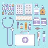 Set medyczny i opieka zdrowotna wyposażenie ikona stetoskop narzędzia Zdjęcia Stock