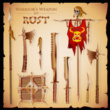 A set meele weapon to fantasy style. Set short-range weapons in the same style Rust, massive, heavy, rough, rusty, with a square shield and flag with skull, on Royalty Free Stock Images
