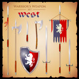 A set meele weapon to fantasy style. Set short-range weapons in the same style West, elegant, rigorous, with a English shield and flag with lion, on parchment Stock Image