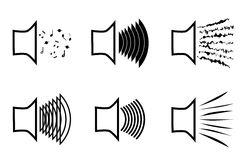 A set of megaphone icons emitting a variety of sound waves. A image of the musical columns from which different sounds burs stock illustration