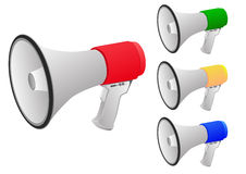 Set of megaphone. There are 4 color of megaphone Royalty Free Stock Photo