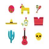 Set Meksyk ikon wektoru ilustracja Zdjęcie Royalty Free