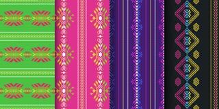 Set meksykańscy bezszwowi wzory Cambaya tkanina Etniczny aztek o ilustracja wektor