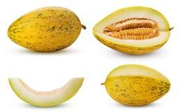 Set melon whole, three quarters, cut in half, slice royalty free stock image