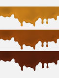 Set of Melted chocolate dripping on white background Royalty Free Stock Photo