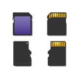 Set memory card, vector illustration. Royalty Free Stock Photography