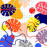 Set of memphis. Memphis background of abstract leaves of palm trees, different colors, bright, colorful, with waves, spots, on cell background, with circles royalty free illustration