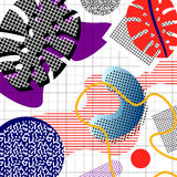 Set of  memphis. Memphis background of abstract objects, palm leaves, geometric shapes, lines, on a cell background, in the style of the 80s Stock Illustration