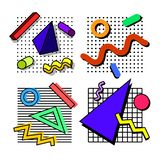 90s memphis backgrounds. Set of memphis background, elements, decorations, in the style of the 80th, from geometric figures, against the background of grids royalty free illustration