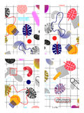 Set of memphis. Backgrounds drawn from abstract shapes, leaves, squares, nets, squares, circles, A4 size in 80s style vector illustration