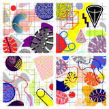 Set of memphis backgrounds, from. Geometry, bright colors, waves, squares, leaves of palm, circles, gradient, in the style of the 80s Vector Illustration