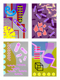 Set of memphis of A4 backgrounds from geometry. Set of memphis of A4 size backgrounds from geometry, different colors, against the background of points in the stock illustration