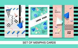 Set Memphis cards/ Retro style texture, pattern and geometric elements.  Stock Image