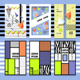 Set Memphis cards/ Retro style texture, pattern and geometric elements. Modern abstract Stock Photo