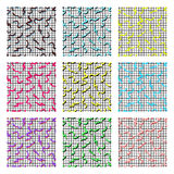 Set of memphis. Set of multi colored Memphis pattern on black mesh background with different strokes stock illustration