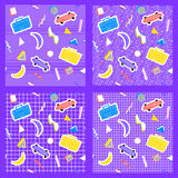 Set memphis pattern geometry different backgrounds. Set of memphis pattern in the style of the 80`s Banana tape recorder skate geometry with different white royalty free illustration