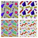 Set memphis patterns. A set of memphis patterns with different backgrounds, from geometric figures, in the style of the 80`s vector illustration