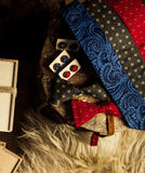 Set of men accessories with present box Royalty Free Stock Photos