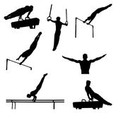 Set men athletes gymnasts. In artistic gymnastics silhouette Stock Images