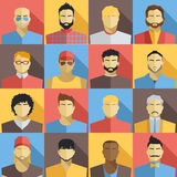 Set of Men Avatars Icons. Colorful Male Faces Icons Set. Flat Style Design. Royalty Free Stock Photography