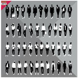 Set of 48 Men black silhouettes ,editable collection. Set of 48 Men black silhouettes with white clothes on top, totally editable collection Stock Images