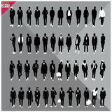Set of 48 Men black silhouettes ,editable collection. Set of 48 Men black silhouettes with white clothes on top, totally editable collection vector illustration
