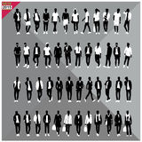 Set of 48 Men black silhouettes ,editable collection. Set of 48 Men black silhouettes with white clothes on top, totally editable collection royalty free illustration