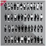 Set of 48 Men black silhouettes ,editable collection. Set of 48 Men black silhouettes with white clothes on top, totally editable collection Stock Photos