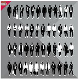Set of 48 Men black silhouettes ,editable collection. Set of 48 Men black silhouettes with white clothes on top, totally editable collection stock illustration