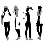 Set of men black silhouettes,. Four silhouettes of men royalty free illustration