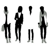 Set of men black silhouettes,. Four silhouettes of men Royalty Free Stock Photography