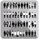 Set of 48 Men black silhouettes with white cloths on top,totally editable,collection. Set of man black silhouettes with white cloths on top isolated on grey stock illustration