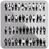 Set of 48 Men black silhouettes with white cloths on top,totally editable,collection. Set of man black silhouettes with white cloths on top isolated on grey Royalty Free Stock Photography